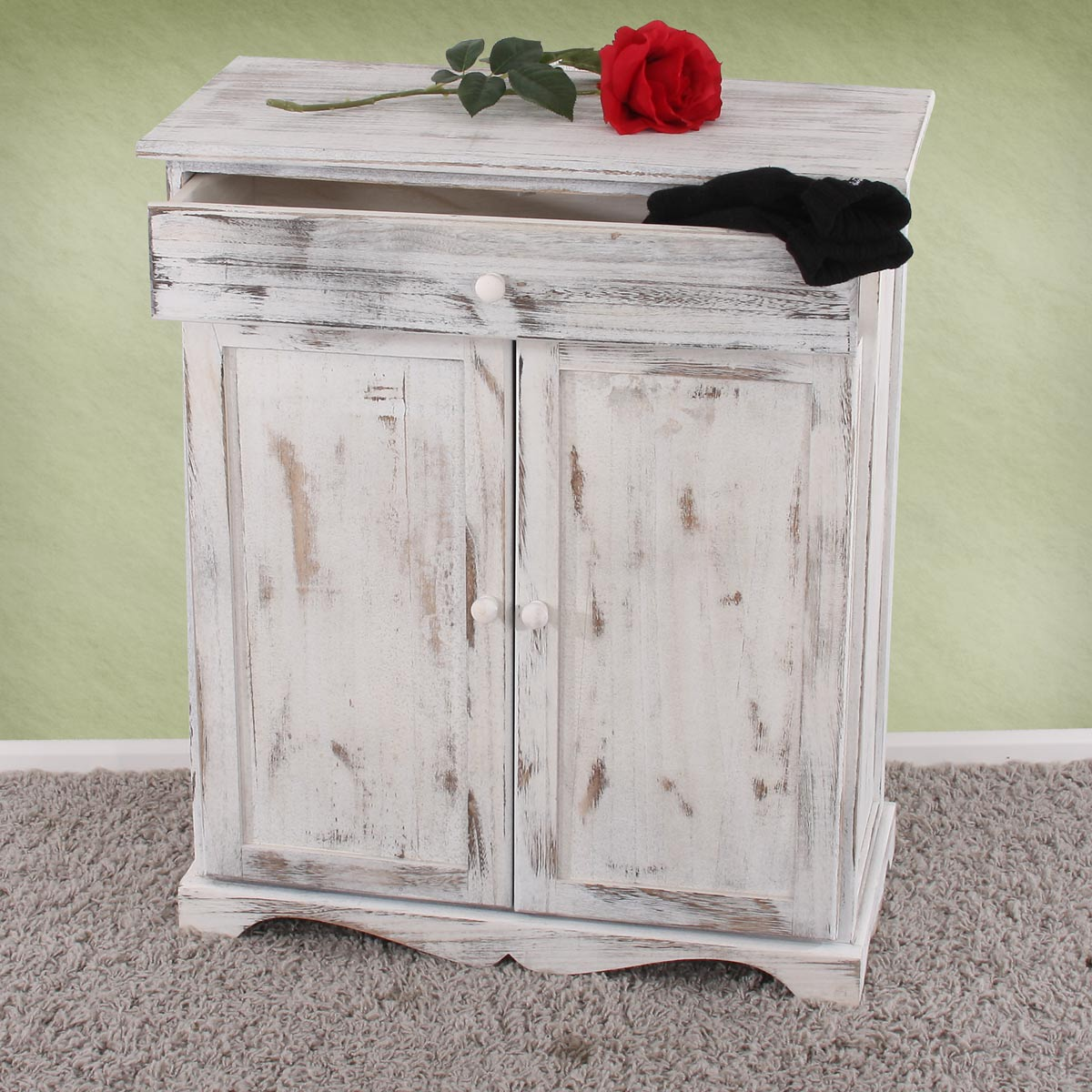 commode table d 39 appoint armoire 66x33x78cm shabby vintage gris blanc marron. Black Bedroom Furniture Sets. Home Design Ideas