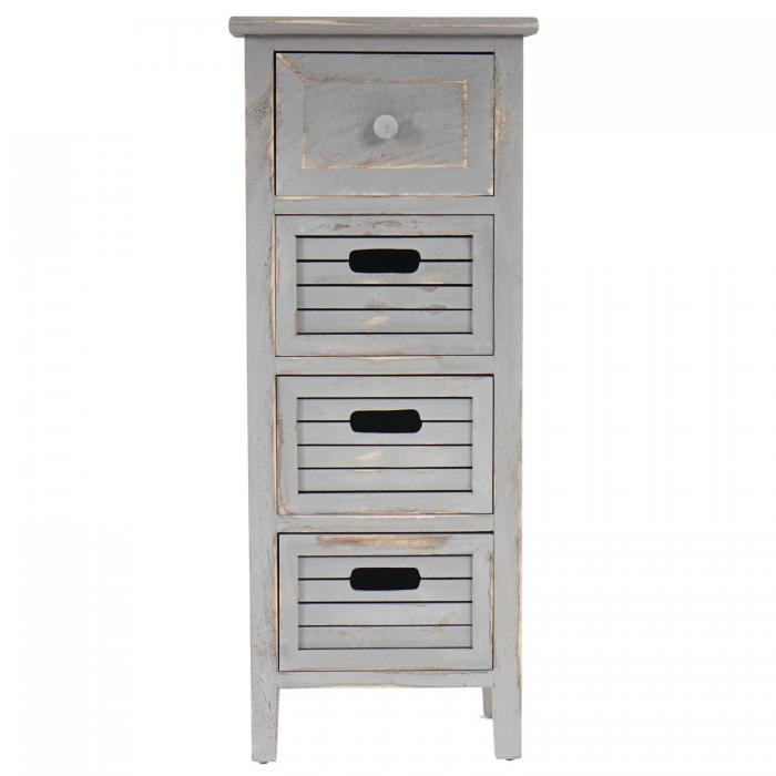 schrank kommode 74x30x25cm shabby look vintage grau. Black Bedroom Furniture Sets. Home Design Ideas