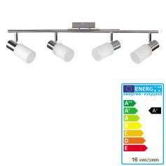 LED Deckenspot A148, Deckenleuchte Deckenlampe, 16W-LED, EEK A+, 4-flammig, nickel matt