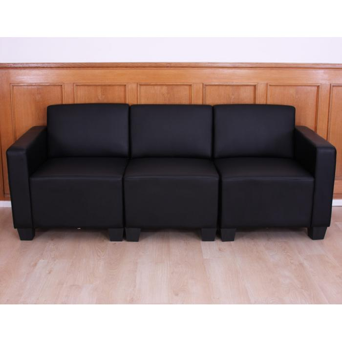 modular 3 sitzer sofa couch lyon kunstleder schwarz. Black Bedroom Furniture Sets. Home Design Ideas