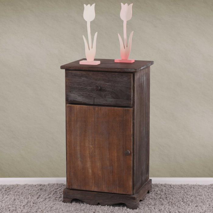 kommode beistelltisch nachttisch telefontisch 63x35x29cm shabby look vintage braun. Black Bedroom Furniture Sets. Home Design Ideas