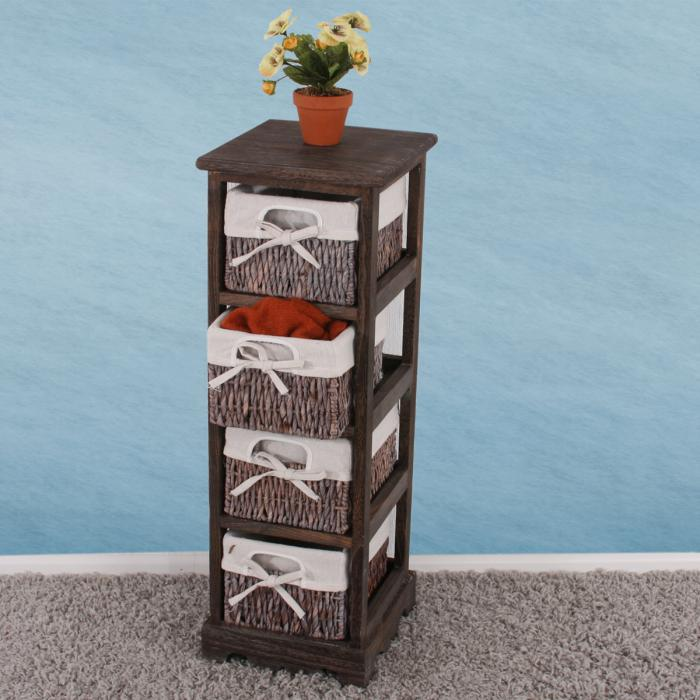 regal kommode mit 4 korbschubladen 74x25x28cm shabby look. Black Bedroom Furniture Sets. Home Design Ideas