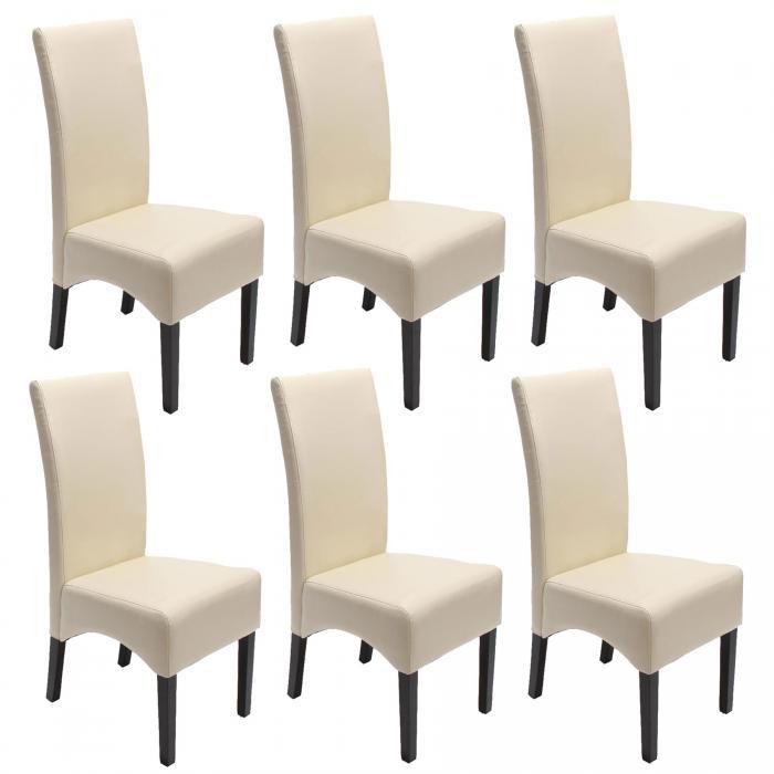 6x esszimmerstuhl lehnstuhl stuhl latina leder creme dunkle beine. Black Bedroom Furniture Sets. Home Design Ideas