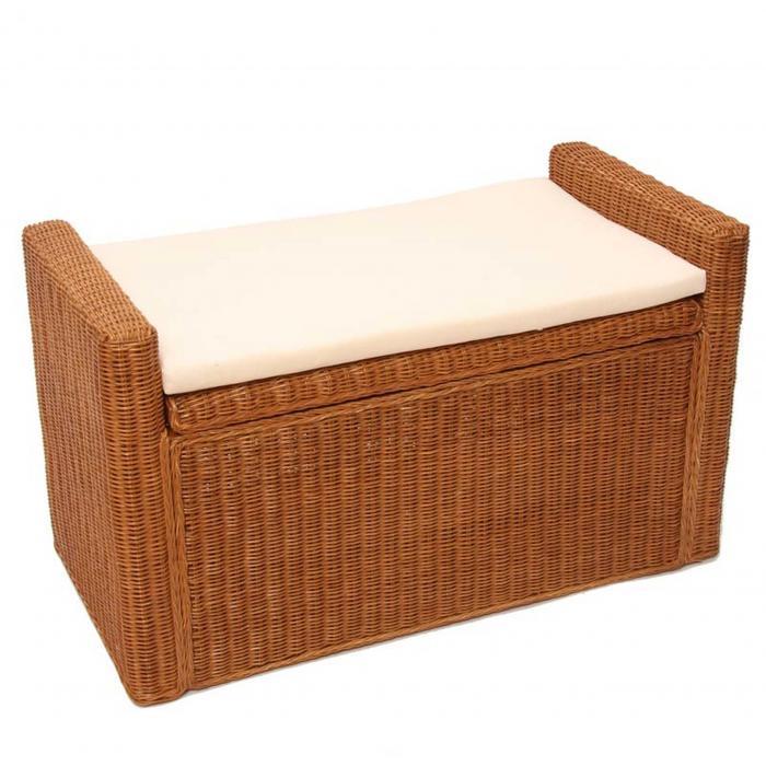 aufbewahrungstruhe truhe sitzbank m92 rattan mit kissen 88cm honigfarben. Black Bedroom Furniture Sets. Home Design Ideas
