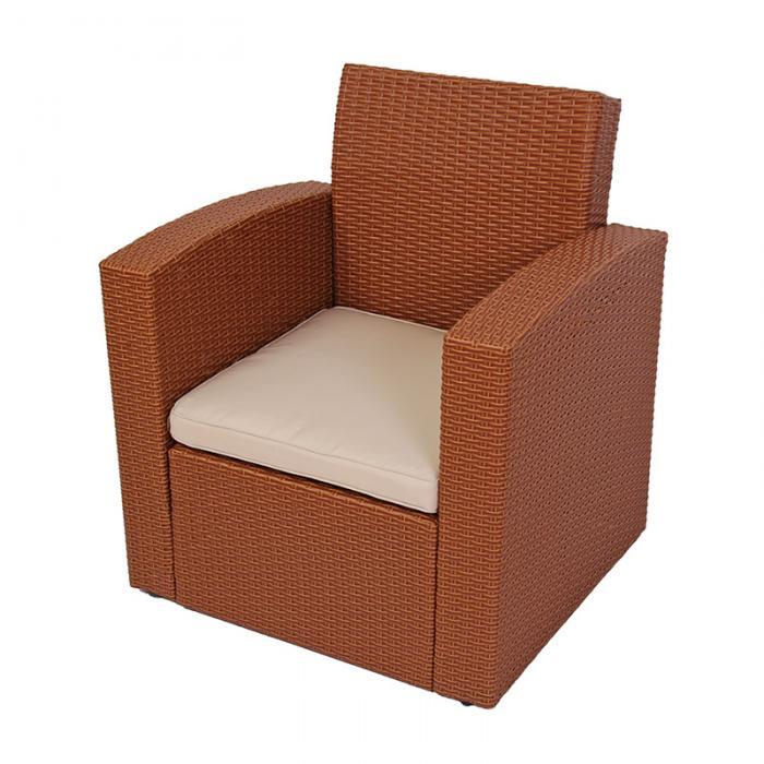Modulares garten sofa turin poly rattan rot braun sessel - Rattan sofa garten ...