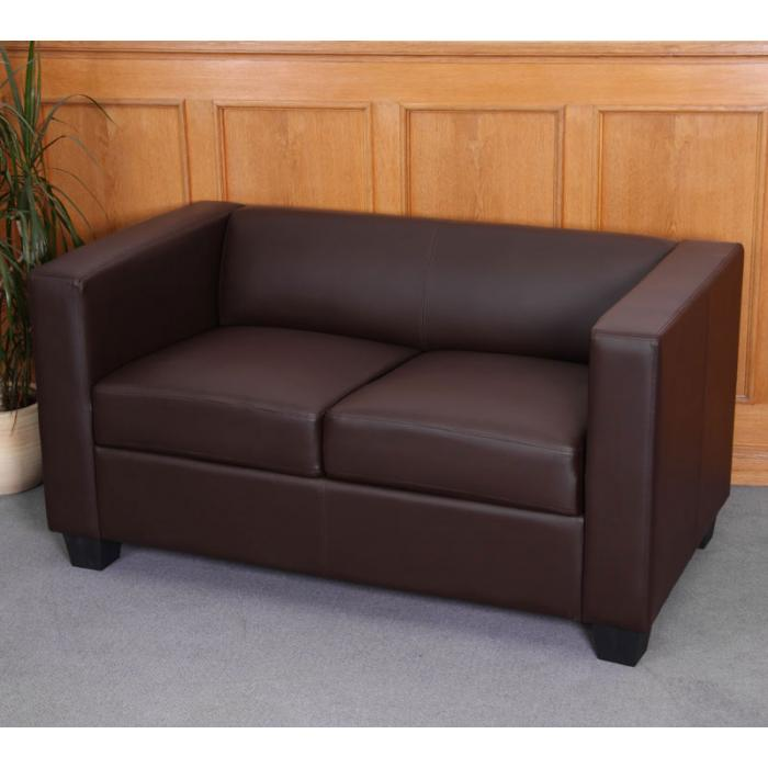 2er Sofa Couch Loungesofa Lille ~ Kunstleder, coffee
