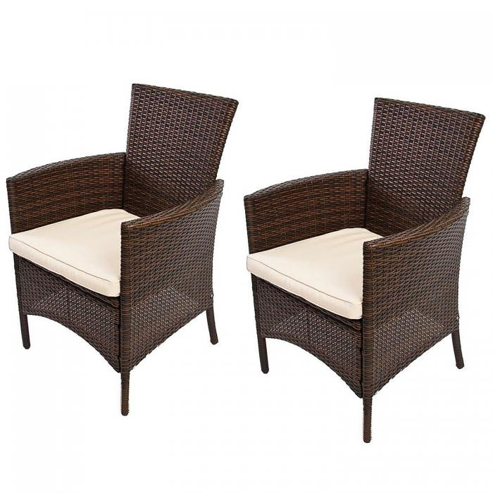 2x gartensessel korbsessel romv poly rattan alu 85 5x61x60 cm braun meliert. Black Bedroom Furniture Sets. Home Design Ideas