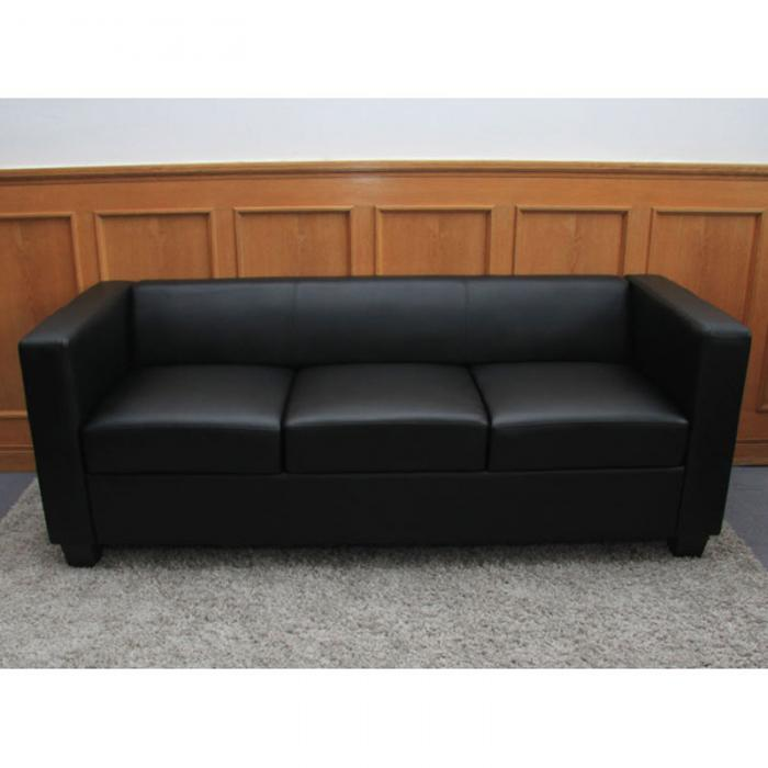 3er sofa couch loungesofa lille leder schwarz. Black Bedroom Furniture Sets. Home Design Ideas