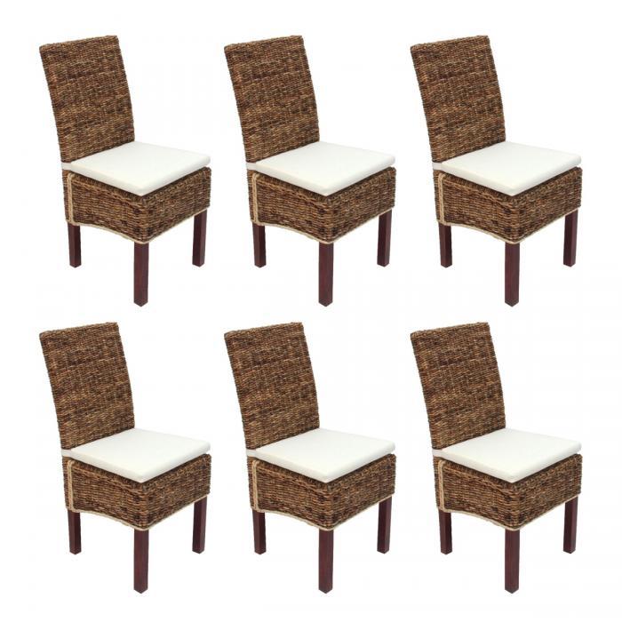 6x esszimmerstuhl korbstuhl m69 stuhl bali bananengeflecht hell mit kissen. Black Bedroom Furniture Sets. Home Design Ideas
