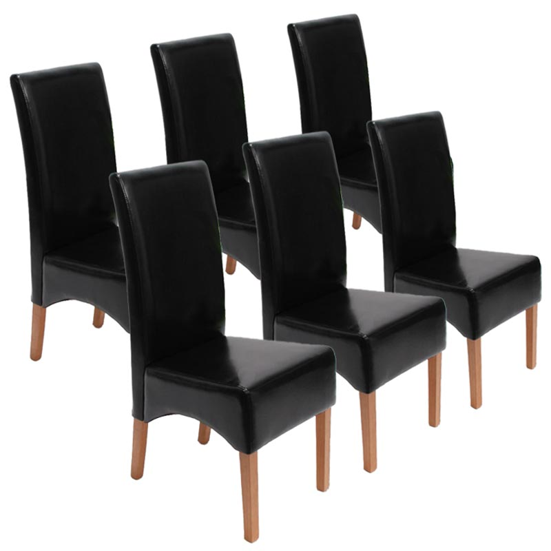 Lot de 6 chaises latina cuir reconstitu pieds fonc s clairs coloris divers - Chaise en cuir a vendre ...