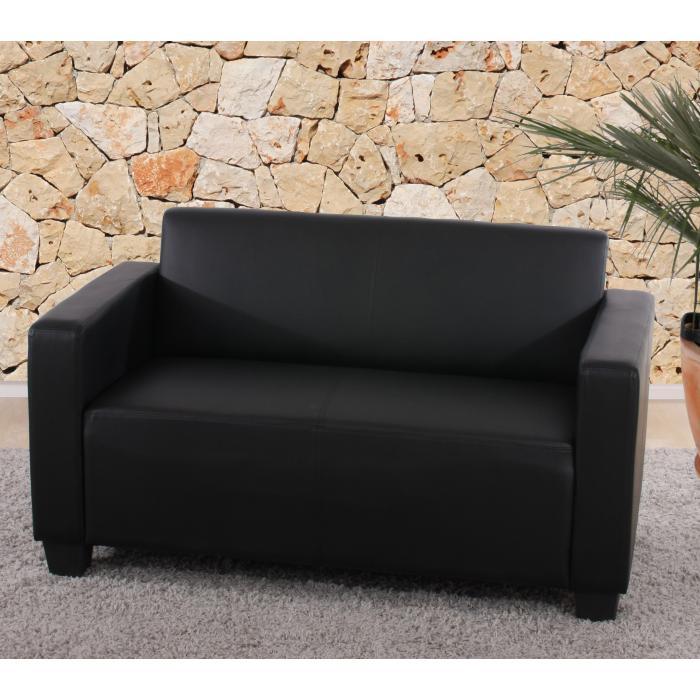 2er sofa couch lyon loungesofa kunstleder schwarz. Black Bedroom Furniture Sets. Home Design Ideas