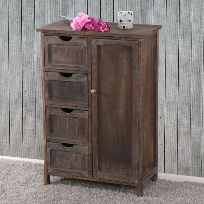 kommode schrank 82x55x30cm shabby look vintage braun. Black Bedroom Furniture Sets. Home Design Ideas