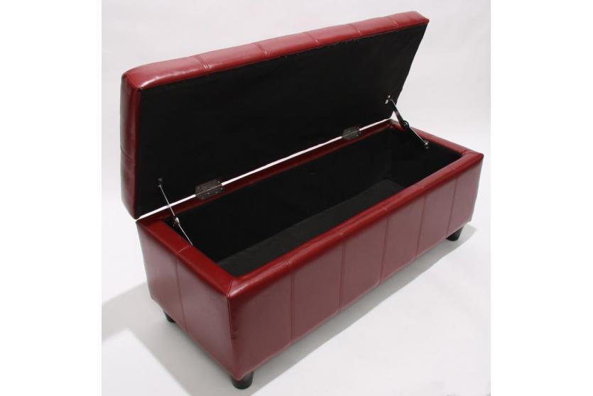 bank sitzbank mit aufbewahrung kriens leder 112x45x45cm rot. Black Bedroom Furniture Sets. Home Design Ideas