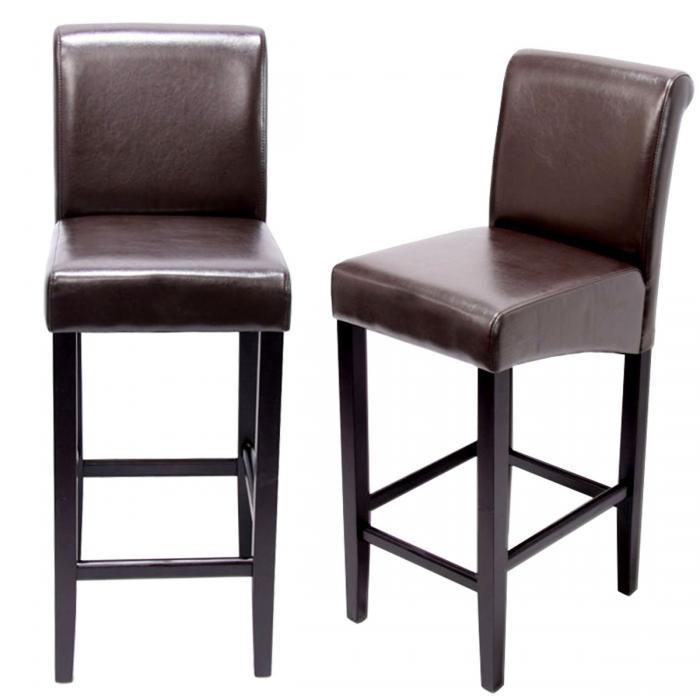 2x barhocker barstuhl hwc c33 braun dunkle beine leder. Black Bedroom Furniture Sets. Home Design Ideas