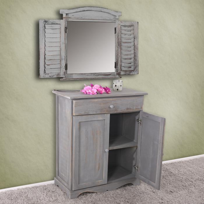 kommode schrank 78x66x33cm shabby look vintage dunkelgrau. Black Bedroom Furniture Sets. Home Design Ideas