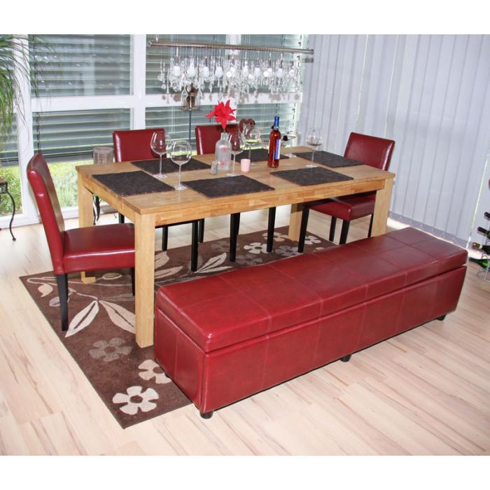 garnitur sitzgruppe bank mit aufbewahrung kriens xxl 4 st hle littau kunstleder leder rot. Black Bedroom Furniture Sets. Home Design Ideas