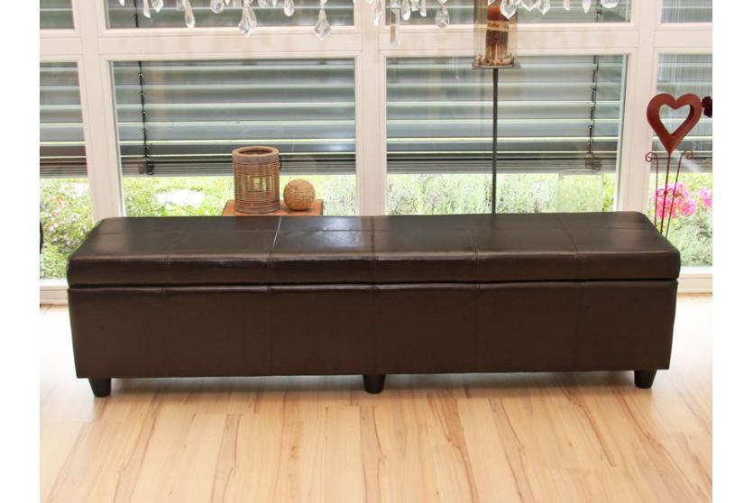 bank sitzbank mit aufbewahrung kriens xxl leder kunstleder 180x45x45cm braun. Black Bedroom Furniture Sets. Home Design Ideas