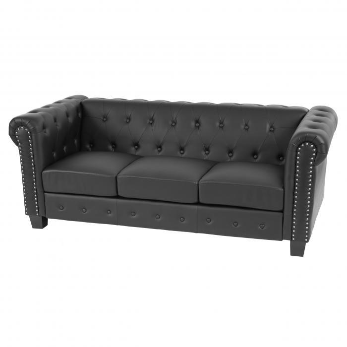 luxus 3er sofa loungesofa couch chesterfield kunstleder eckige f e schwarz. Black Bedroom Furniture Sets. Home Design Ideas