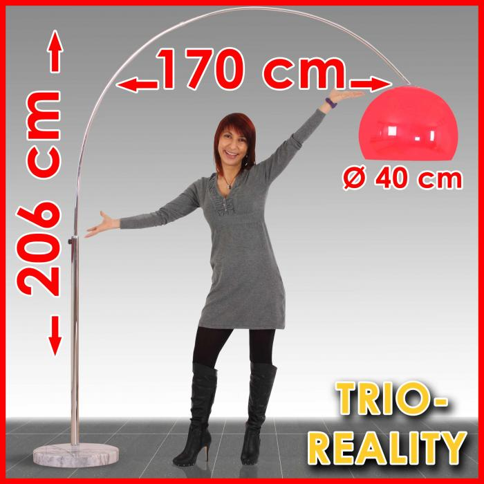 Reality|Trio Bogenlampe Lounge Deal, Höhe: 2,06m, Schirm: 40cm ~ rot
