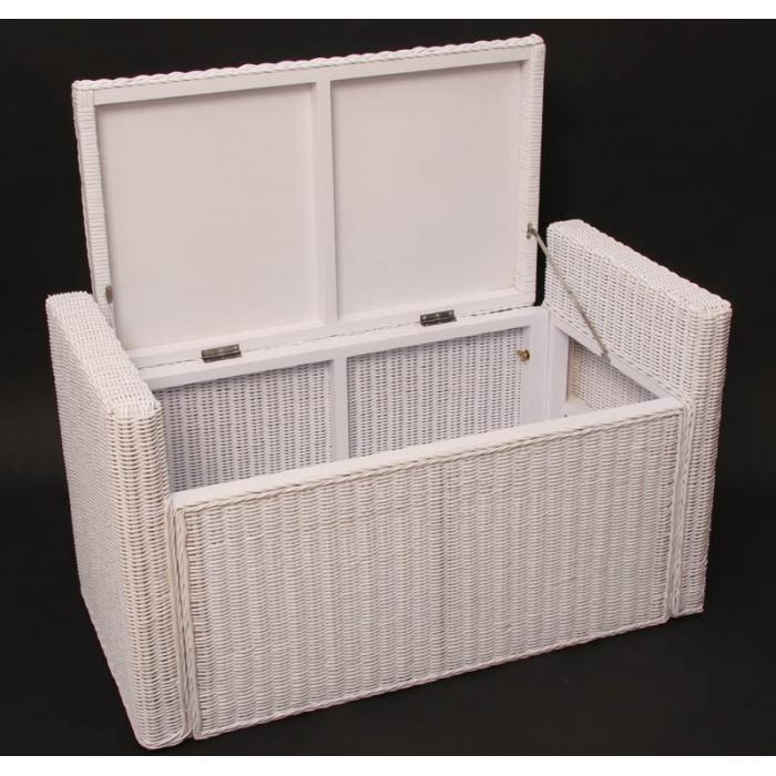 sitzbank sitzhocker m92 rattan mit stauraum und kissen 88cm wei. Black Bedroom Furniture Sets. Home Design Ideas