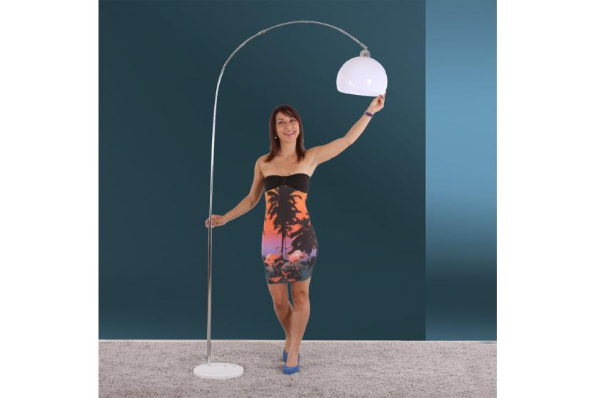 reality trio bogenlampe stehleuchte schirm 30cm h he 150 210cm wei ebay. Black Bedroom Furniture Sets. Home Design Ideas