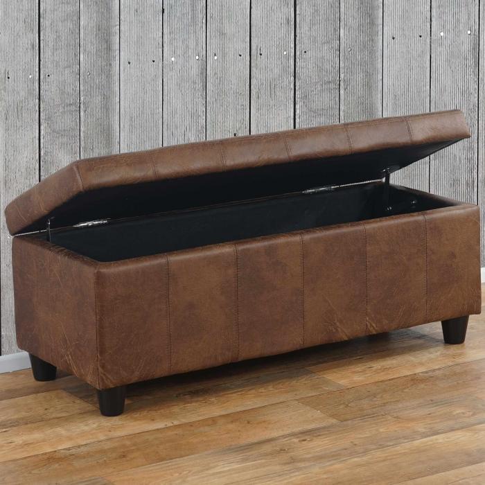 aufbewahrungs truhe sitzbank bank kriens textil 112x45x45cm wildlederimitat. Black Bedroom Furniture Sets. Home Design Ideas