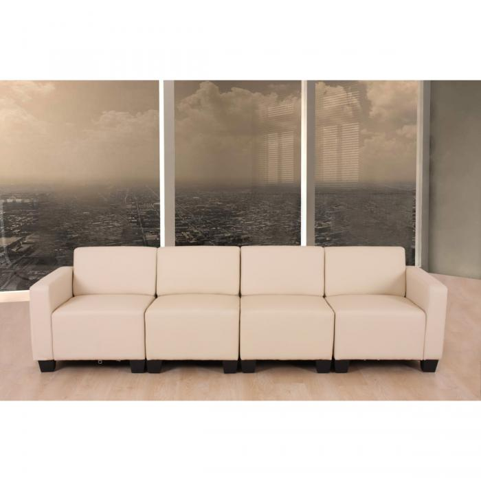 modular 4 sitzer sofa couch lyon kunstleder creme. Black Bedroom Furniture Sets. Home Design Ideas