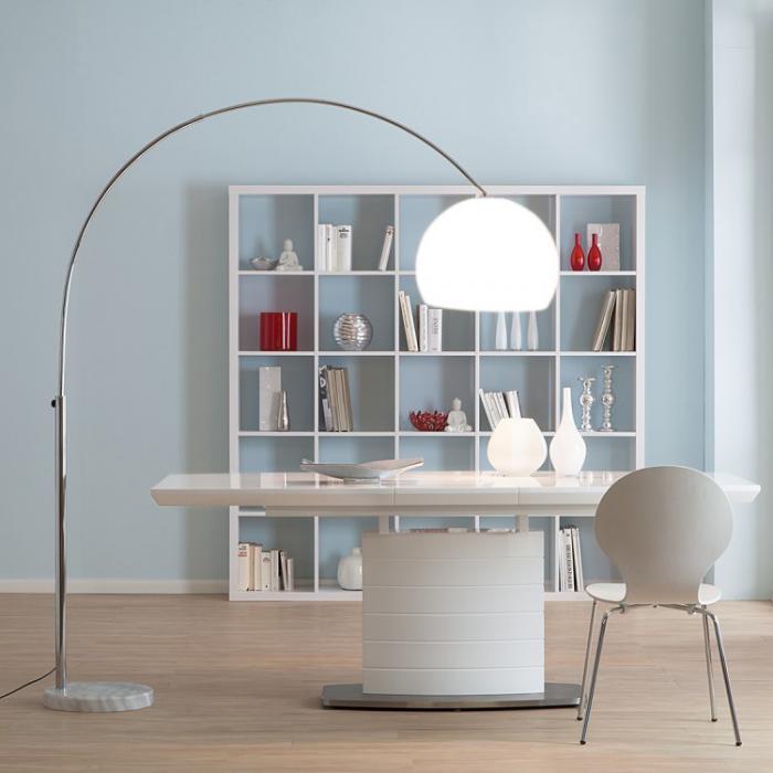 bogenlampe lounge deal ii stehleuchte chrom wei 180cm. Black Bedroom Furniture Sets. Home Design Ideas