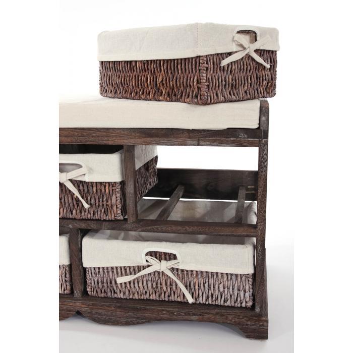 kommode und sitzbank mit 5 schubladen 77x45x36cm shabby look vintage braun. Black Bedroom Furniture Sets. Home Design Ideas