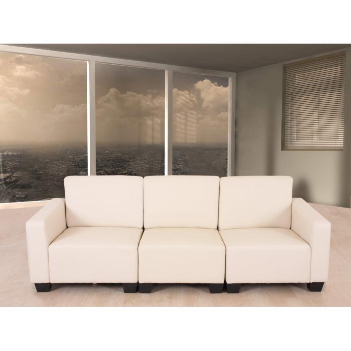 modular 3 sitzer sofa couch lyon kunstleder creme. Black Bedroom Furniture Sets. Home Design Ideas