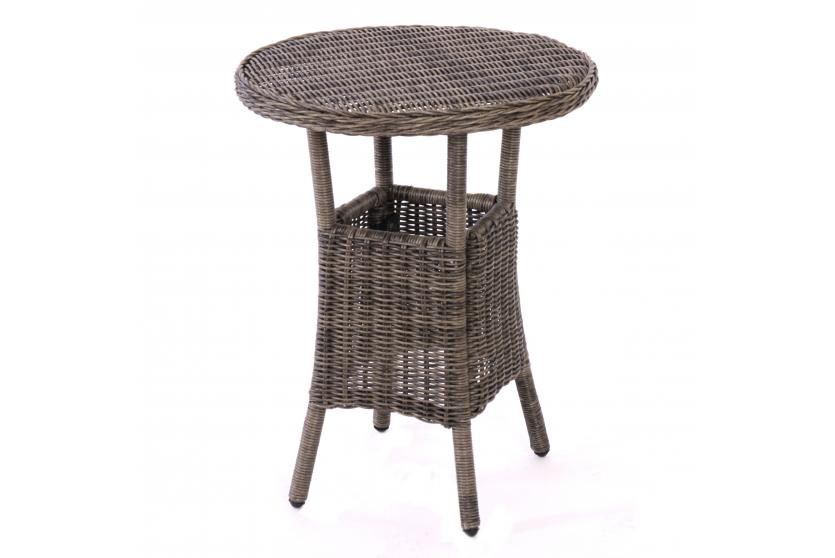 gartentisch beistelltisch romv poly rattan rund 77x62cm naturgrau ebay. Black Bedroom Furniture Sets. Home Design Ideas
