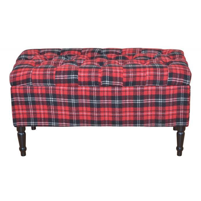 sitzbank h31 polsterbank bank stoffbezug mit stauraum 47x90x40cm rot kariert. Black Bedroom Furniture Sets. Home Design Ideas