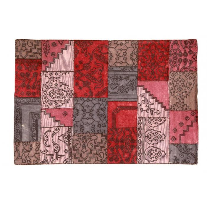 Teppich S12, Wolle, Patchwork, rot ~ 170x240cm