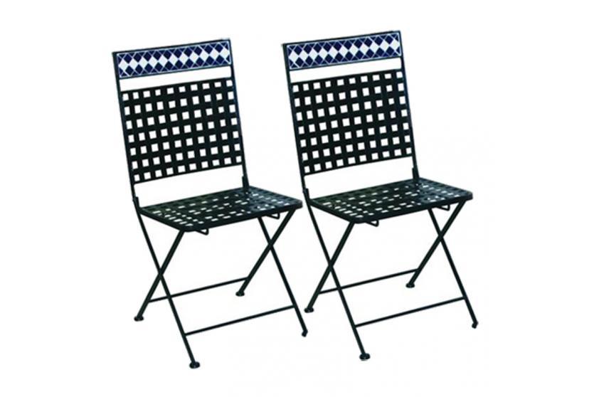 2x mosaikstuhl gartenstuhl bistrostuhl klappbar metall ebay. Black Bedroom Furniture Sets. Home Design Ideas