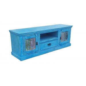 Lowboard S14, TV-Rack Fernsehtisch, recyceltes Altholz, blaues Antikfinish, 50x140x40cm