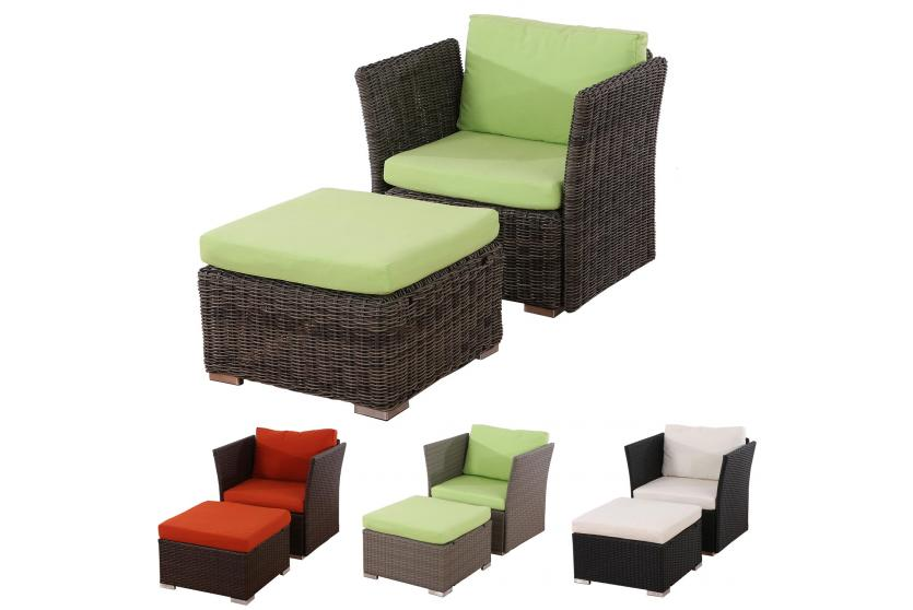 sessel siena mit ottomane poly rattan braun anthrazit grau naturgrau ebay. Black Bedroom Furniture Sets. Home Design Ideas