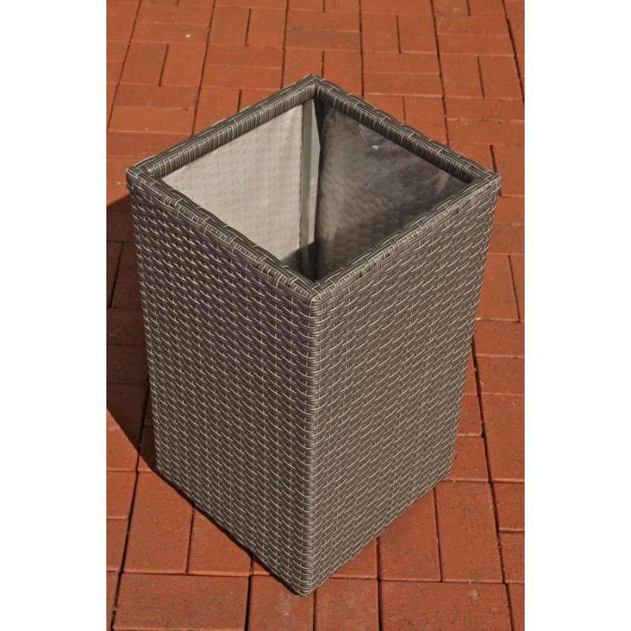 poly rattan blumenk bel cp001 blumentopf 35x27x27 cm grau. Black Bedroom Furniture Sets. Home Design Ideas
