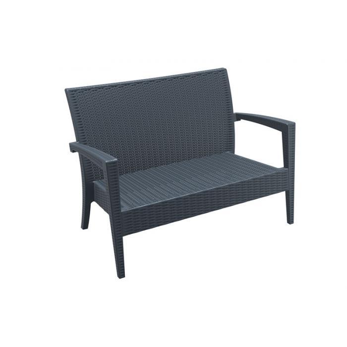 2er Sofa Cp045 2 Sitzer Lounge Sofa Poly Rattan Dunkelgrau