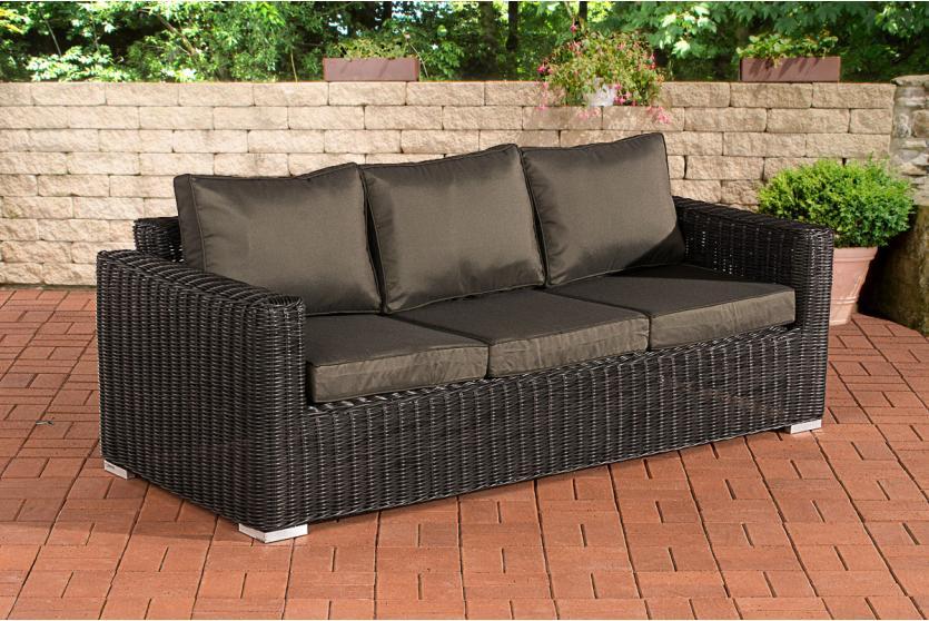 3er sofa cp053 3 sitzer poly rattan kissen anthrazit schwarz. Black Bedroom Furniture Sets. Home Design Ideas