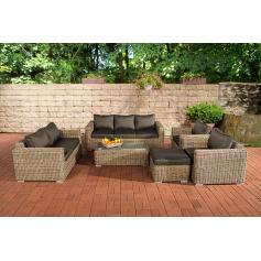 3-2-1-1 Sofa-Garnitur CP050 Lounge-Set Gartengarnitur Poly-Rattan ~ Kissen anthrazit, natur