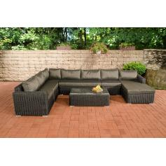 Sofa-Garnitur CP054, Lounge-Set Gartengarnitur, Poly-Rattan ~ Kissen anthrazit, schwarz