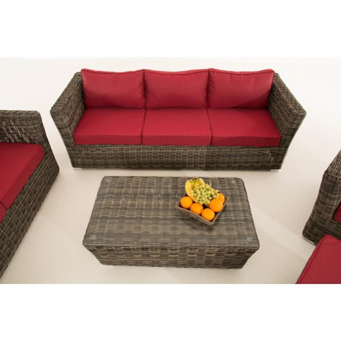 poly rattan gartengarnitur sousse sofa garnitur lounge set grau meliert polsterung rubinrot. Black Bedroom Furniture Sets. Home Design Ideas