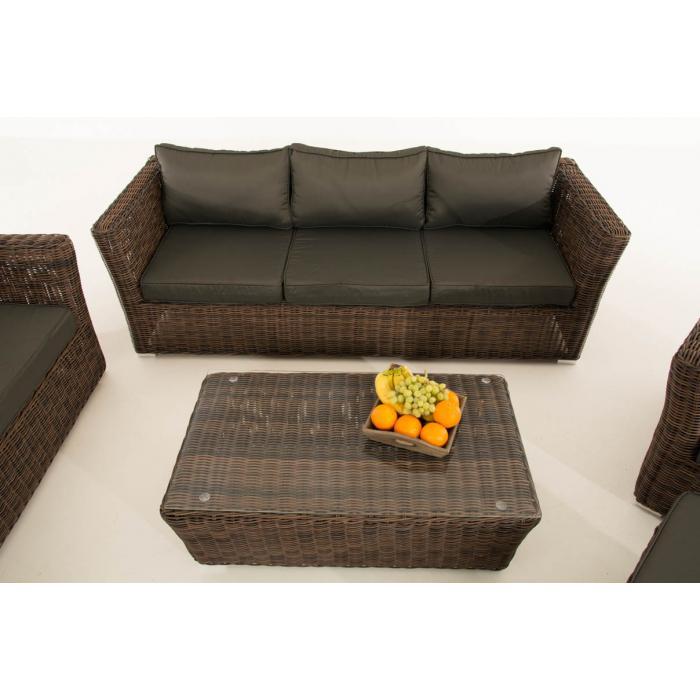 poly rattan gartengarnitur sousse sofa garnitur lounge set braun meliert polsterung anthrazit. Black Bedroom Furniture Sets. Home Design Ideas