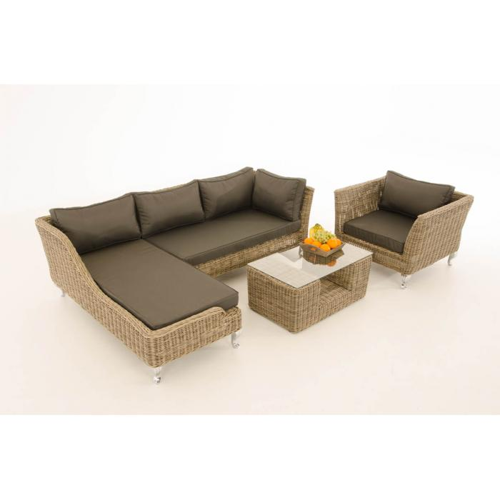 Sofa-Garnitur CP055, Lounge-Set Gartengarnitur, Poly-Rattan ~ Kissen anthrazit, natur