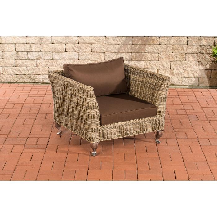 gartensessel cp055 poly rattan kissen terrabraun natur. Black Bedroom Furniture Sets. Home Design Ideas