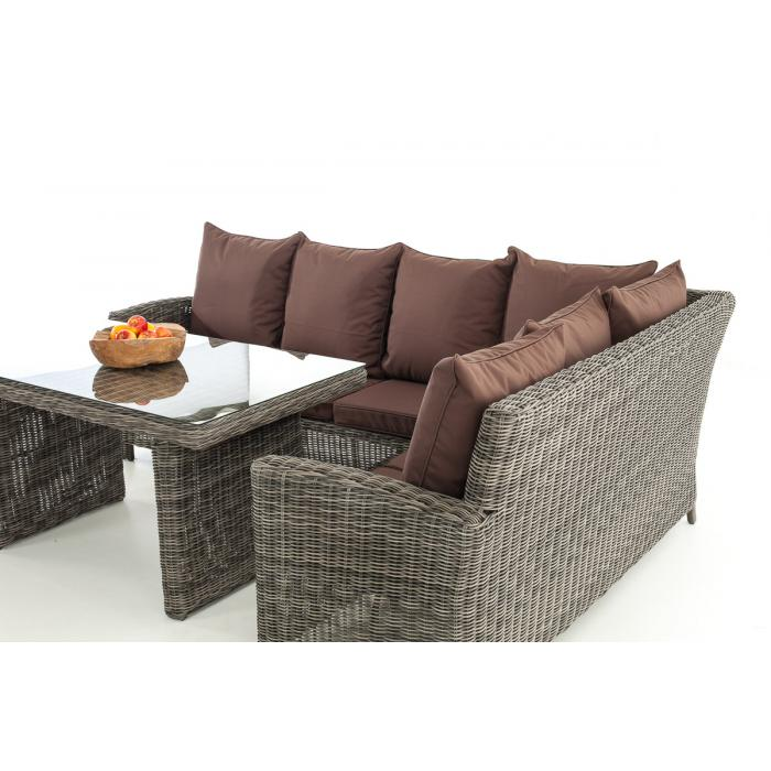 sofa garnitur cp056 lounge set gartengarnitur poly rattan kissen terrabraun grau meliert. Black Bedroom Furniture Sets. Home Design Ideas