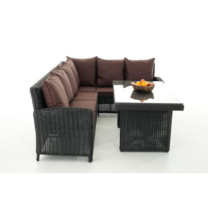 sofa garnitur cp056 lounge set gartengarnitur poly rattan kissen terrabraun schwarz. Black Bedroom Furniture Sets. Home Design Ideas
