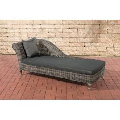 Chaiselongue CP302, Recamiere Poly-Rattan ~ Kissen anthrazit, grau-meliert