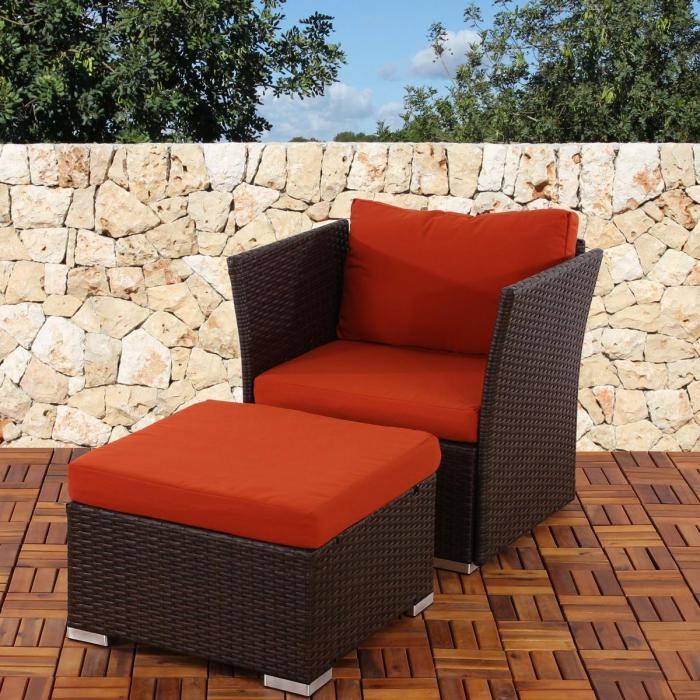 sessel mit ottomane siena poly rattan gastronomie qualit t braun mit kissen in bordeaux. Black Bedroom Furniture Sets. Home Design Ideas