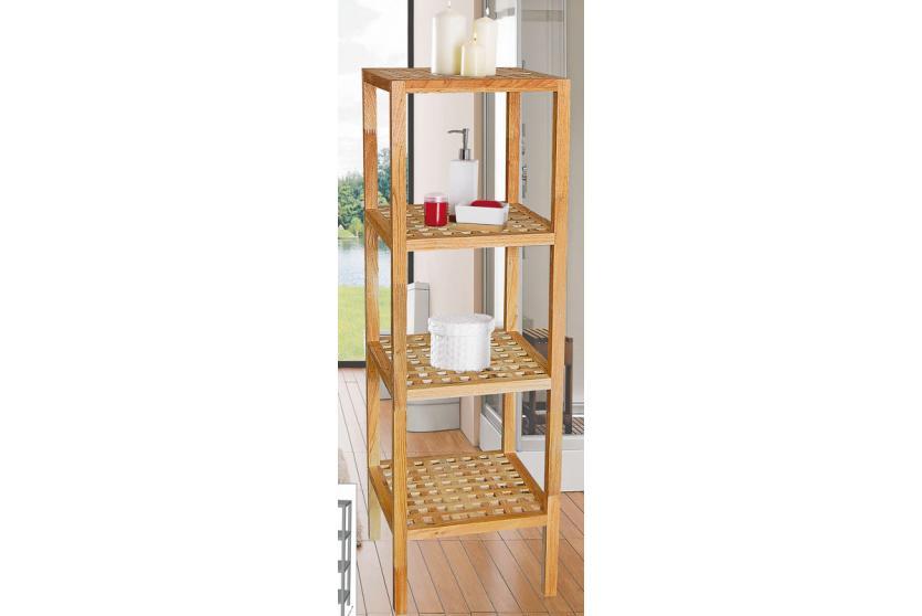 badregal standregal regal 4 b den holz walnuss ebay. Black Bedroom Furniture Sets. Home Design Ideas